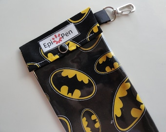 Epi Pen Pouch 4x8 Holds 2 Adult or Jr. Allergy Injector Pens w/ Clear Pocket and Clip - Boys Superhero Batman on Black