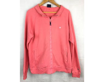 CHAMPION Long Sleeve Sweater Fully Zipper Large Size Sweater Pink Colour