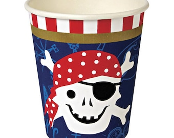 Pirate Cups / Pirate Party / Pirate Birthday Cups / Pirate Paper Cup / Ahoy Matey/ Pirate Party Decor / PirateTableware / Ahoy There