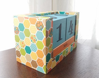 Perpetual Wooden Block Calendar - Turquoise and Yellow Honeycomb - Hexagon Hexies Calendar Blocks