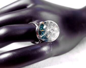 Sphere Resin Ring, Orb Ring Dandelion, Dandelion seeds, Eco friendly resin, Rings , Wedding ring, Globe Ring Dandelion, Botanical Jewelry,