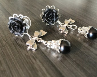 0g Dangle Plugs Bows And Black Pearls 00g 24 Colors, 4mm 6g Rose Plugs 2g 6mm 5mm 4g Gauged Earrings Bows Beads Acrylic/Steel/Wood Ear Plugs
