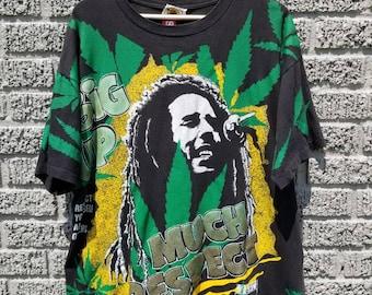 Vintage Bob Marley all over print Weed rap tee T-shirt