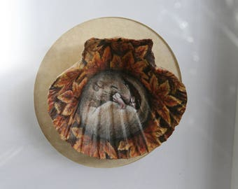 Hand Painted Mouse in a Shell, Framed