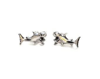 Shark Sterling Silver Stud Earrings 11mm - Sterling Silver Shark Post Earrings - 925 Shark Earrings - Shark Jewelry - Shark Studs