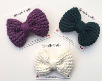 Crochet Hair Bow: Set of 3 Crochet Hair Bows - Crocheted Hair Clip - Crochet Bowtie - Infant Hair Bow- Hair Clip - Crochet Bow - Purple