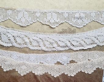 Antique Vtg Trim Lace Filet Crochet Knit Edging Primitive Tulip Lot of 3 Sew A36