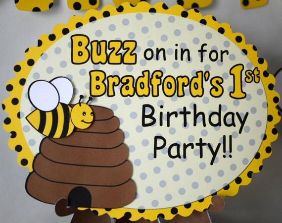 BUMBLE BEE Birthday BANNER Honey Bee Party Decorations Bug Theme