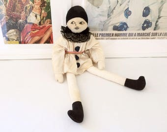 Old cloth/boudoir Pierrot doll. Hand drawn face. Vintage 1920