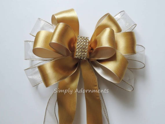 Ivory Gold Bow Shabby Chic Ivory Gold Wedding Church Bow Gold Ivory Church Aisle Pew bow Gold and Ivory Ceremony Chair Bow Gold Anniversary