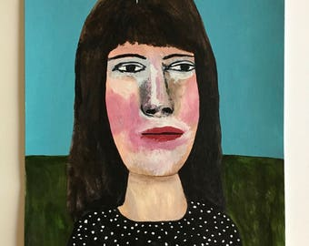 Portrait painting // Bubblehead no. 101 // original painting // illustration on paper // original art // 9 x 12