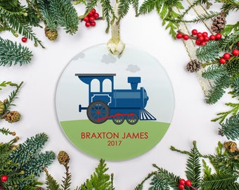 Personalized Christmas Ornament, Baby Boy Ornament, Train Ornament, Baby's 1st Christmas 2017
