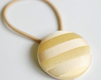 Gold Silk Stripes Hair Button