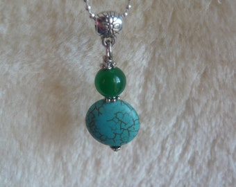 TURQUOISE gemstone pendant necklace & IMPERIAL JADE