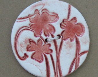 Large Round Dark Red and White Button.  FREE SHIPPING. Handmade Ceramic Button. Porcelain Button. Clay Button. Handmade Button.