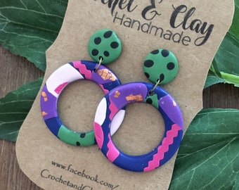 Round Cutout Dangles ~ Polymer Clay Earrings ~  Statement Earrings ~ Ladies Earrings