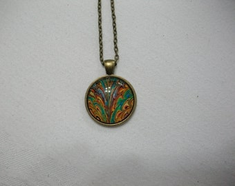 Colorful Pendant Necklace / Swirls of Color Multicolor Pendant Necklace, /Glass Dome Pendant