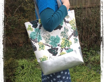 Vintage barkcloth fabric oversized tote bag -ivy