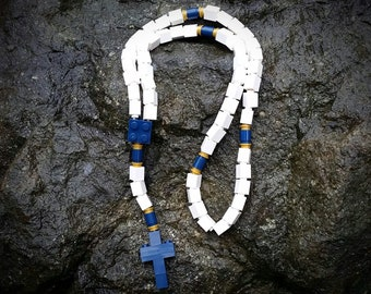 The Original MementoMoose Rosary Made with Lego Bricks - White, Navy and Gold Catholic Rosary
