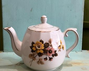 Vintage Ellgreave Wood & Sons Teapot Ironstone England 1950s