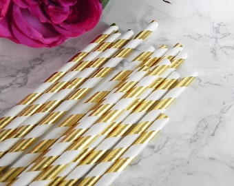 Gold Foil Striped Paper Straws- Gold Foil Straws-Wedding Straws-Birthday Party-Striped Paper Straws- Baby Shower Straws