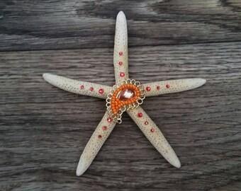 Medium Sparkle Seastar Pink and Orange with Swarovski Crystals