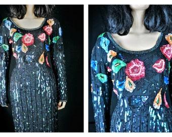 Vintage Beaded 80s Club Dress / Vng Black Heavy Beaded Desinger Silk Trophy Dress / Oh Johny 80s New Wave Silk Beaded Sequin Tent Dress Sz M