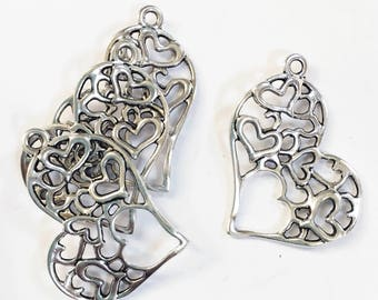 Bulk 30 pcs of antique  silver  double sided filigree heart charm 37x32mm