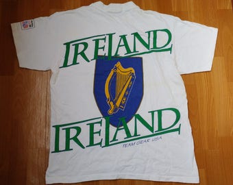 FIFA World Cup USA 1994 Ireland t-shirt, authentic 94 uefa soccer European football shirt, 90s, 1990s white cotton, size L, Made in USA