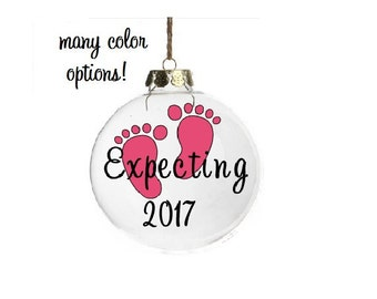 Expecting Ornament, We're Expecting Ornament, Expecting Baby Ornament, Pregnant Ornament, Custom Christmas Ornament, Pregnancy Reveal