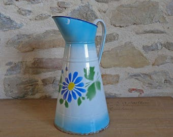 Blue and white enamel pitcher with hand painted flowers, tall vintage French enamelware jug, French country home decor