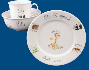 Personalized Handpainted Porcelain Baby Dish Set with Animal Design-Baby Gift  sc 1 st  Etsy & Personalized Baby Dish Set Newborn Baby Gift Monogrammed