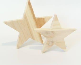 Star set of 2 pieces, home decor, decor, minimalist, Scandinavian style, raw wood natural