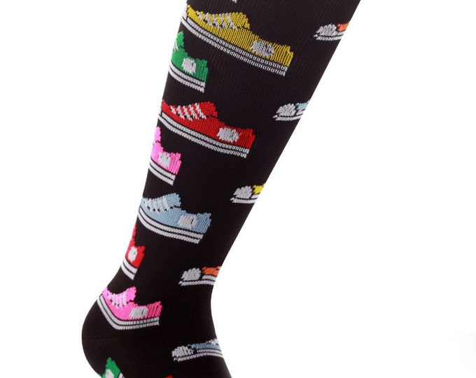 Samson® Retro Trainers Funky Socks Sport Knee High Sport Football Rugby Soccer