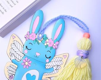 Rabbit Bookmark, With Tassel, Gift, Back to School, Kawaii Rabbit Bookmark, Cute, Student, Teen, Pastel Bookmark, Paper Gemz Design