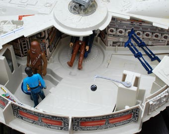 Vintage Star Wars Complete Millennium Falcon + Han Solo, Lando Calrissian, and Chewbacca Action Figures by Kenner