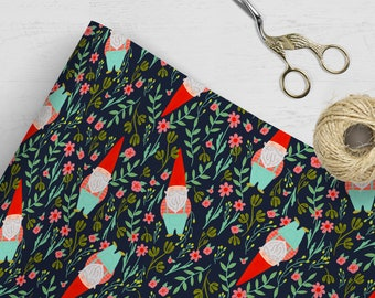 Gnome Gift Wrap | Garden Gnome Wrapping Paper | Holiday Wrapping Paper | Birthday Gift Wrap