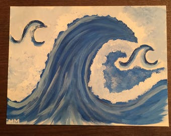 Hand-Painted Ocean Wave Canvas