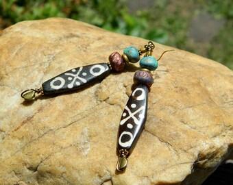 Tribal Batik Bone Boho Earrings