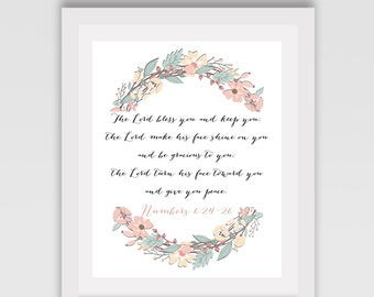 "INSTANT DOWNLOAD // Baby room sign  // Baby shower sign  // Nursery sign  // Bible verse // ""The lord bless you.."" // Numbers 6:24-26"