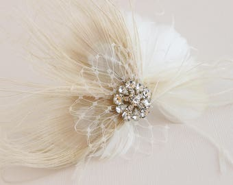Bridal Feather Accent, Feather Adornment, Bridal Feather Flower, Feather Fascinator, Wedding Feather Flower, Bridal Feather Headpiece