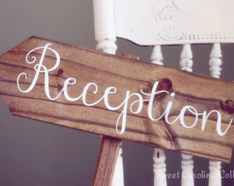 Reception Wooden Wedding Sign - Rustic Wedding Signs - WEDDING SIGNS Reception WS-81