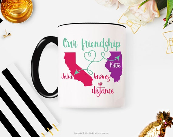 Best Friend Gift - Long Distance Friendship Gift - Friendship Long Distance Coffee Mug Personalized friendship Mug