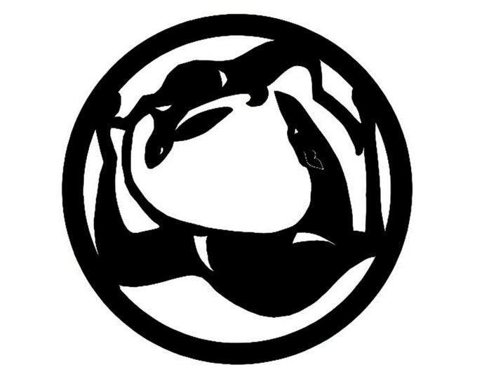Greyhound circle with rabbit, LeChienArtistiQ