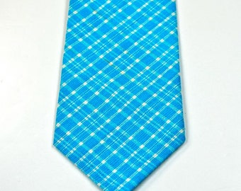 Aqua Plaid Necktie, Mens Necktie, Blue Plaid Necktie, Custom Neckties