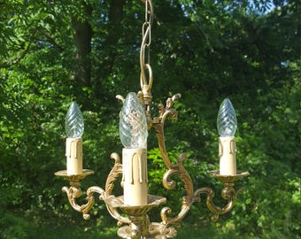 pretty vintage French small 3 arm bronze cage chandelier (J150)