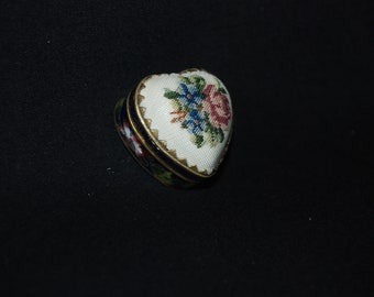 Embroidered Cloisonne enamel keepsake box - vintage metal chinese asian decorative gold tone trinket snuff box - tooth fairy medicine tin