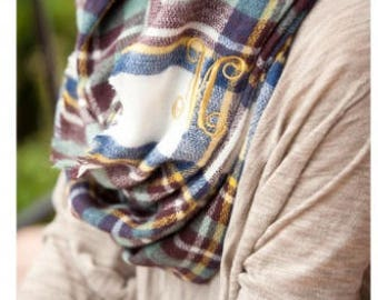 Blue/Wine Londyn Infinity Scarf, monogrammed scarf