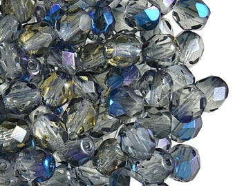 50pcs Czech Fire-Polished Faceted Glass  Beads Round 6 mm, Crystal Blue Flare (6FP070)