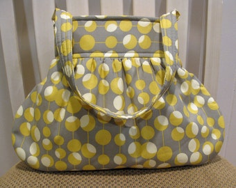 Gray, Cream and Yellow/Gold Gathered Fabric Bag in Amy Butler Fabric